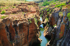 Canyon at the Bourke's Luck potholes. Bridge over the canyon at the Bourke's Luck potholes in the Blyde river, Mpumalanga, South Africa Royalty Free Stock Photos
