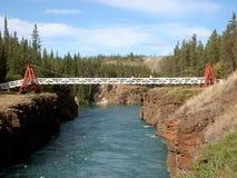 Canyon Bridge. Suspension bridge spanning Miles Canyon & River. Yukon, Canada stock photos