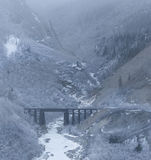 Canyon, bridge and fog or cloud Royalty Free Stock Image