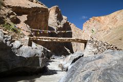 Canyon with bridge - view from Zanskar trek - Ladakh Royalty Free Stock Images