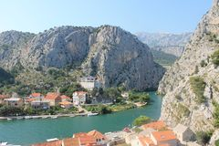 The canyon of the Cetina river in omiš, Croatia. Picturesque canyon of the Cetina river between the mountains in Omis Croatia on a Sunny summer day stock photos