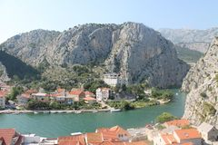 The canyon of the Cetina river in omiš, Croatia stock images