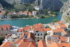 The canyon of the Cetina river in omiš, Croatia royalty free stock image