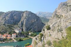 The canyon of the Cetina river in omiš, Croatia royalty free stock photo
