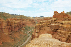 Canyon of Charyn in Kazakhstan. Majestic canyon in Kazakhstan in cloudy day Royalty Free Stock Photography