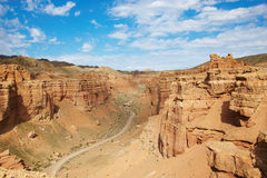 Canyon of Charyn in Kazakhstan. Majestic canyon in Kazakhstan in cloudy day Royalty Free Stock Photos