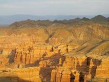 Canyon Charyn (Sharyn) al tramonto Fotografia Stock