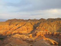 Canyon Charyn (Sharyn) al tramonto Immagini Stock