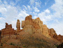 Canyon Charyn (Sharyn) towers in the valley of Castles. Canyon Charyn or Sharyn National Park at sunset near Almaty, Kazakhstan Grand Canyon's little brother Royalty Free Stock Photo