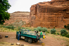 Canyon Chelly Jeep Tour. Jeep tours of Canyon de Chelly are accurately nicknamed Shake and Bake Tours. But there is no better way to see the red rock canyons and Stock Image
