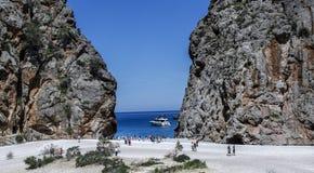 Canyon and coast Sa Calobra ,Spain Royalty Free Stock Images