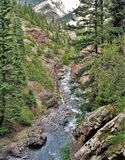 Canyon Creek. Below Box Canyon Falls in Ouray, Colorado, an 85 foot waterfall that plummets into a narrow, quartzite canyon with walls overhanging the falls by Royalty Free Stock Images
