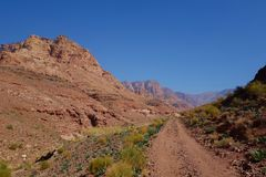 Canyon of Dana Biosphere Nature Reserve landscape near Dana historical village, Jordan, Middle East. Landscape of Dana Biosphere Nature Reserve located in Jordan stock photography