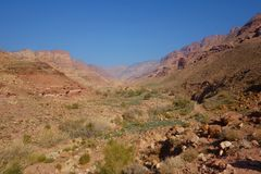 Canyon of Dana Biosphere Nature Reserve landscape near Dana historical village, Jordan, Middle East. Landscape of Dana Biosphere Nature Reserve located in Jordan stock images