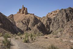 Canyon de Charyn et la vallée des châteaux, parc national, Kazakhst Photo libre de droits