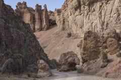 Canyon de Charyn et la vallée des châteaux, parc national, Kazakhst Photo stock