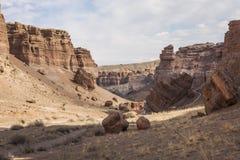 Canyon de Charyn et la vallée des châteaux, parc national, Kazakhst Photos stock