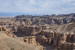 Canyon de Charyn et la vallée des châteaux, parc national, Kazakhst Photos libres de droits