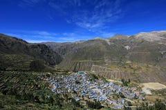 Canyon de Cotahuasi de village de Puica d'aperçu Photographie stock