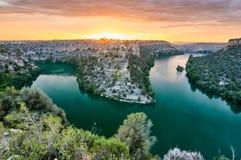 Canyon de Duraton à Ségovie, Espagne Photos libres de droits