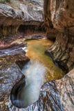 Canyon de fente de souterrain en Zion Utah Photographie stock libre de droits