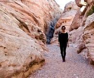 Canyon de fente en vallée du feu, Nevada, Etats-Unis image libre de droits