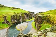 Canyon de Fjadrargljufur en Islande Image libre de droits