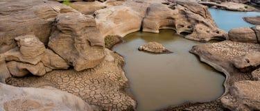 Canyon de Sam Phan Bok de lit de la rivière de Mae Khong photographie stock libre de droits
