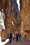 Canyon de Siq dans PETRA Image stock