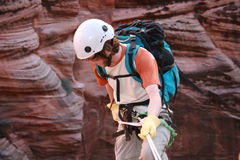 Canyon decending. Technical descending in canyon country royalty free stock photography