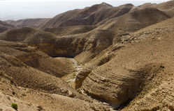 Canyon del deserto di Wadi Kelt Immagine Stock Libera da Diritti