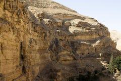 Canyon del deserto di Wadi Kelt Fotografia Stock Libera da Diritti