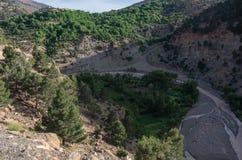 Canyon del fiume della montagna nell'alta gamma dell'atlante, Marocco, Africa Fotografia Stock
