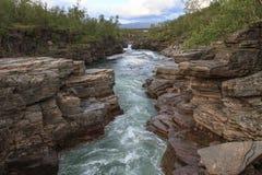 Canyon del fiume di Abiskojaure fotografia stock