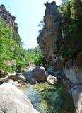 Canyon dell'acqua in Corsica Immagini Stock Libere da Diritti