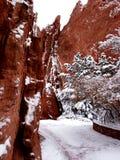 Canyon della roccia di colore rosso di Pict 5096 e percorso ghiacciato Fotografia Stock Libera da Diritti