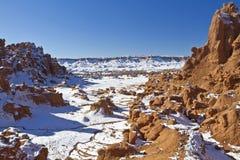 Canyon della valle del folletto in neve fotografie stock libere da diritti
