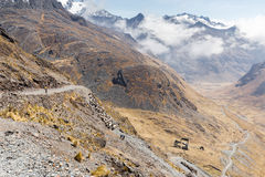 Canyon della valle della cresta delle montagne che fa un'escursione traccia di viaggio, Cordiller Immagine Stock Libera da Diritti