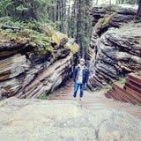 Canyon di caduta di Athabasca Fotografia Stock