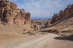 Canyon di Charyn e la valle dei castelli, parco nazionale, Kazakhst immagini stock libere da diritti