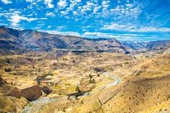Canyon di Colca, Perù, Sudamerica.  Inche per sviluppare agricoltura dei terrazzi con lo stagno e la scogliera. Fotografie Stock