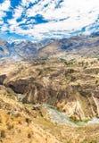 Canyon di Colca, Perù, Sudamerica. Inche per sviluppare agricoltura dei terrazzi con lo stagno e la scogliera. Uno dei canyon più  Fotografie Stock Libere da Diritti