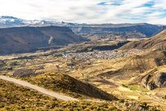Canyon di Colca, Perù, Sudamerica le inche per sviluppare agricoltura dei terrazzi con lo stagno e la scogliera Fotografia Stock Libera da Diritti