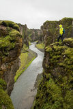 Canyon di Fjadrargljufur Fotografia Stock