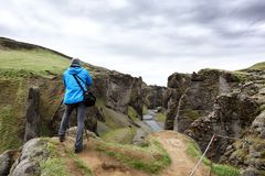 Canyon di Fjadrargljufur in Islanda sudorientale Immagini Stock Libere da Diritti