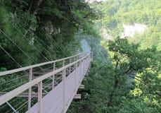 Canyon di Okatse - passeggiata sopra l'abisso fotografia stock libera da diritti