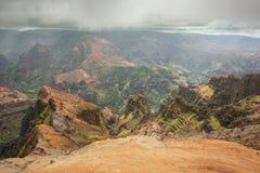 Canyon di Waimea con tempo minaccioso Fotografia Stock