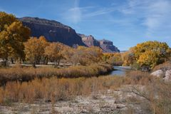 Canyon of the Dolores River near Gateway, Colorado. The Dolores River flows out of a beautiful canyon through Gateway, Colorado in this horizontal photograph Stock Image