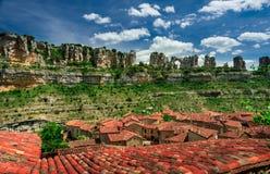 Canyon Ebro river.Orbaneja del Castillo. Stock Photos