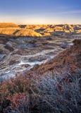 Canyon en fer à cheval dans Alberta Bandlands près de Drumheller, Alber image libre de droits